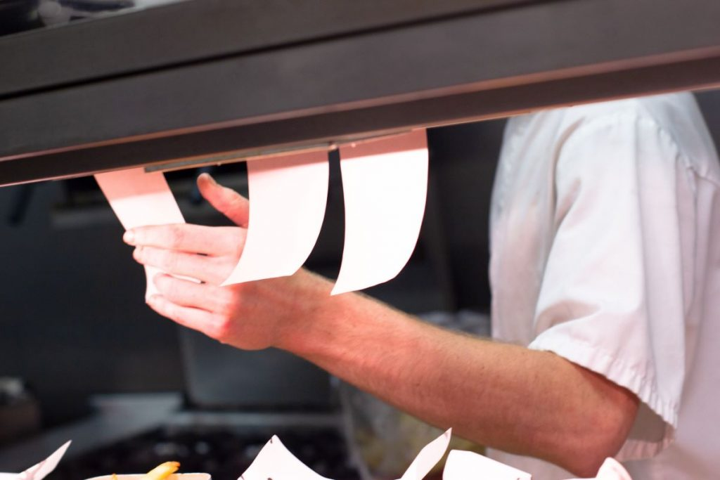 food orders in kitchen